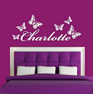 (LARGE) PERSONALISED NAME & BUTTERFLIES BEDROOM VINYL WALL ART DECAL STICKER 14 COLOURS AVAILABLE