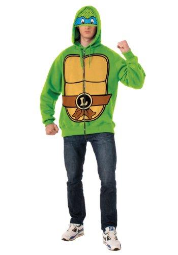 Hoodie Turtle Kostüm Ninja - Teenage Mutant Ninja Turtles Leonardo Erwachsene Kostüm Hoodie (X-Large)