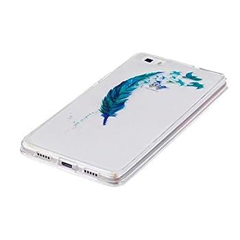 Huawei P8lite Hülle Silikon Transparenter Ultra Dünner Tpu Weicher Handy Hülle Dechyi Kunstmalerei Serie Handyhülle Huawei P8 Lite Blaue Feder 2