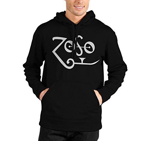 """Felpa Unisex """"Zoso"""" - Felpa con cappuccio Jimmy Page Led Zeppelin LaMAGLIERIA, XL, Nero"""