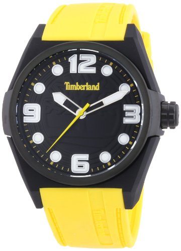 Timberland Radler Unisex Quartz Watch with Black Dial Analogue Display and Yellow Silicone Strap 13328JPB/02