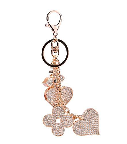 Vierblättriges Kleeblatt und Herz Schlüsselanhänger Kristall Tasche Ornaments Auto Schlüsselanhänger Gold ()