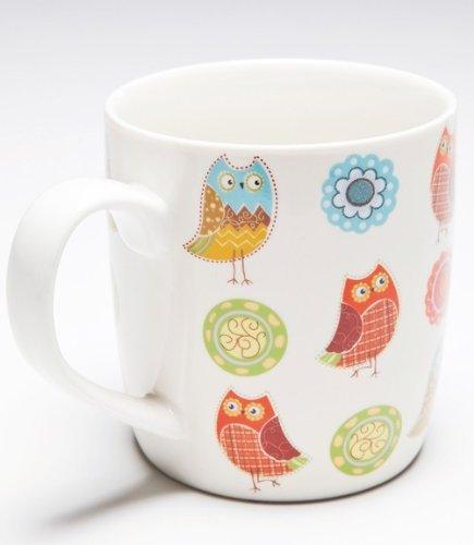 Kare Tasse Romantic Owl, in 4 Farben/Eulen-Motiven zur Auswahl, Durchmesser: ca. 9 cm, Höhe: ca. 9,5 cm, Material: Porzellan, Kaffeetasse/Kaffeebecher für Eulen - Liebhaber, Farbe:creme