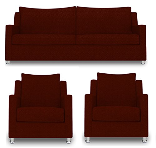 Adorn India Modern Straight Line 3+1+1 Sofa set(Maroon)