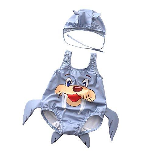 anzug Baby scherzt Nette Walroß-Muster Einteilige Badebekleidung mit Hut-Karton-Badeanzug-Schwimmen-Kostüm-Overall 1-3 Jahre Süßer einteiliger Badeanzug für Kinder ()