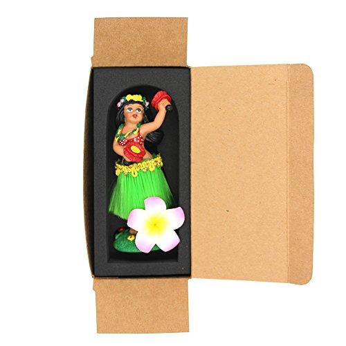 Salpicadero-Hula-Girl-smyer-Hawaiian-Hula-Girl-mueca-de-borla-de-salpicadero-polirresina-green-skirt