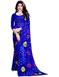 Amyaa Fashion Women's Chiffon Saree With Blouse Piece (Amyaa Blue Saree)