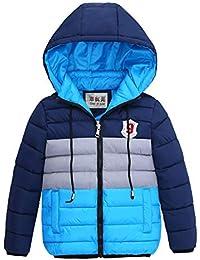 LSERVER Kinderkleidung Baumwollmantel Kinder neutral gestreift Winterjacke