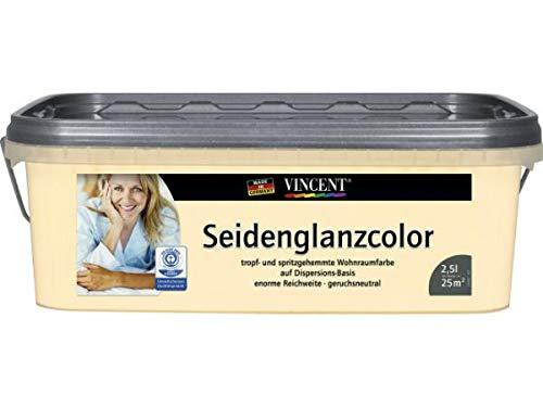 Vincent Wandfarbe Dispersionsfarbe Innenfarbe Seidenglänzend, 2,5 L FARBWAHL, Farbe:Mandel
