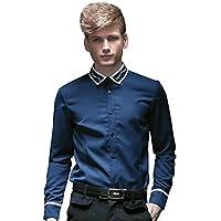 FANZHUAN Camicia Slim Fit Blue Elegante Classica Maniche Lunghe Casual