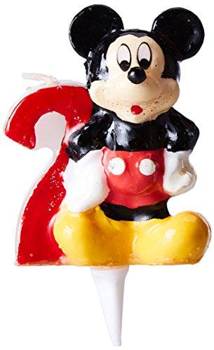 dekora 346142 Vela de Cumpleaños Mickey Mouse Numero 2, Cera, 6.5