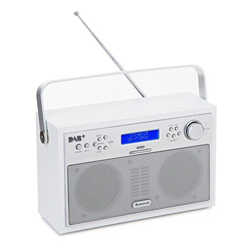 auna Akkord • Digitalradio • Kofferradio • DAB+ / PLL-UKW-Tuner • dimmbares Display • LCD-Display • RDS-Funktion • 20 Senderspeicherplätze • Wecker • Retro-Design • schwenkbare Teleskopantenne • Netz- und Battarie-Betrieb • tragbar • weiß
