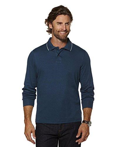 Herren Schlicht Baumwolle Polo T-shirt Top Langärmelig Stretch-jersey Oberteile Dunkelblau