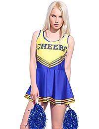 Womens Cheerleader Costumes School Girl Full Outfits Glee Musical Fancy Dress Uniform Pompoms