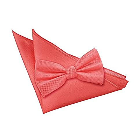 DQT Premium Woven Microfibre Plain Solid Check Coral Men's Casual Business Wedding Tuxedo Pre-tied Bow Tie with Matching Handkerchief Pocket Square Hanky