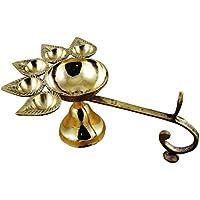 Odishabazaar indiano ottone lampada ad olio panch aarti–indù puja canfora–Bruciatore