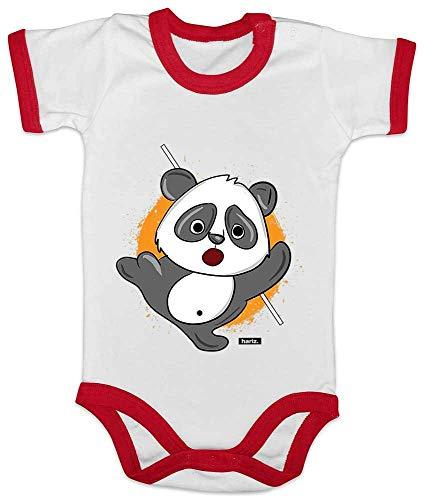 Ringer Kostüm Samurai - HARIZ Baby Body Ringer Süßer Panda Samurai Tiere Zoo Plus Geschenkkarte Weiß/Rot 12-18 Monate
