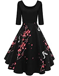 Axoe Womens Vintage 1950s Retro Rockabilly Prom Dresses 3/4 Sleeve Black Floral Print