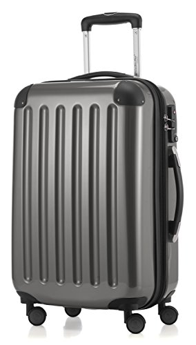 HAUPTSTADTKOFFER - Alex -  4 Doppel-Rollen Handgepäck Hartschalen-Koffer Trolley Rollkoffer Reisekoffer, TSA, 55 cm, 42 Liter, Titan