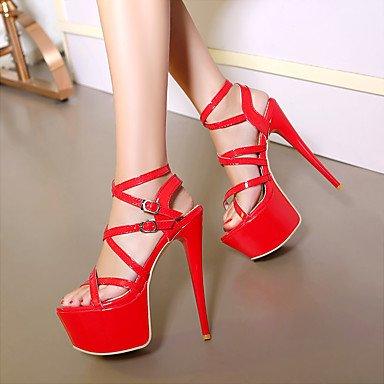 LFNLYX Donna Sandali Comfort estivo cinturino alla caviglia in pelle di brevetto party di nozze & abito da sera Stiletto Heel fibbia Nero Bianco Rosso a piedi White