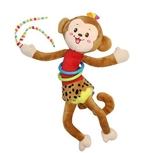 Baby Kinderwagen Spielzeug Spieltier Cartoon Plüschtier mit Vibration Motorikspielzeug zum Aufhängen Kuscheln und Greifen für Babys und Kleinkinder ab 0+ Monaten, Affe