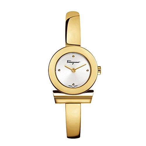 Salvatore Ferragamo Gancino Bracelet Orologio da Donna al Quarzo, quadrante argento e bracciale bangle in oro giallo FQ5040013