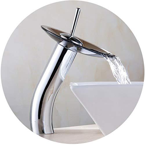 Waschraumarmaturen Hahn-Bassin-Hahn-Glaswasserfall-Hahn-Schwarz-Bassin-Hahn-heißer Und Kalter Hahn-Kunst-heißer Und Kalter Hahn (Color : A, Size : 31 * 14cm) -