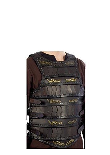 Keltischer Lamellenpanzer, Schwarz, LARP-Lederrüstung Mittelalter Wikinger Kostüm (S/M)