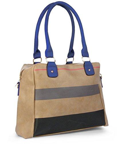 Lovely Lauri Damen Handtasche Henkeltasche Streifen gestreifte Shopper Blau Braun