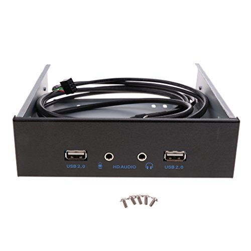 Sharplace USB 2.0 2-Port Metall Frontplatte USB-Hub für Optisches 5,25-Zoll-Laufwerk Dual Port USB2.0 + HD-Audio Audio Optisches Laufwerk Frontplatte Audio-5.25