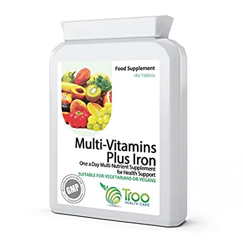 Multi Vitamins & Iron 180 Tablets - Daily One A Day Multi-Vitamin Supplement