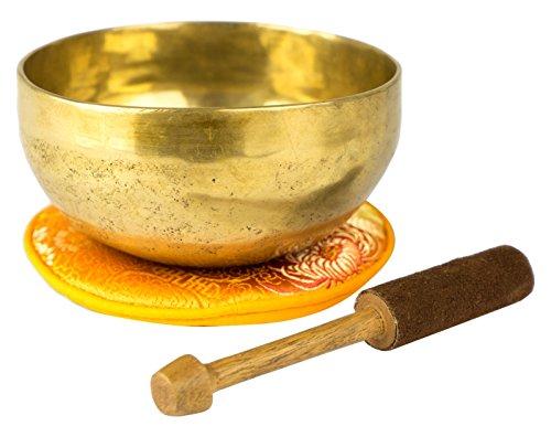 Tibetische Klangschale mit Zubehör (400), traditionell in Handarbeit in Nepal hergestellt für Meditation, Yoga, Entspannung, Schule, Achtsamkeit, Klangschalen-Set