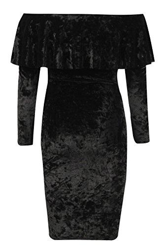 Damen Long Sleeve Crushed Velour Aus Schulter Kragen Kleid EUR Größe 36-42 Rosa