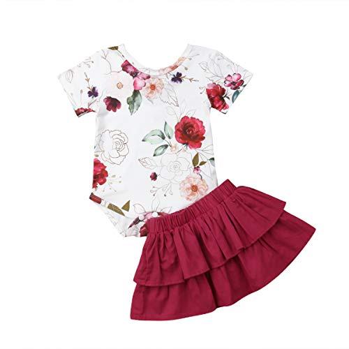 Infant Baby Mädchen Kleidung Set Kurzarm Rundhals Rose Print Strampler Rüschen Plissee Solid Color Rock Outfit Set 2 Stücke für 0-18 Monate (6-12 Monate, rot) -