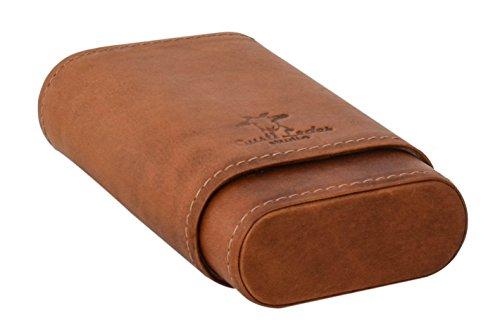 Custodia per sigari e accendino 'Ramon' di Gusti Leder studio interno di legno di cedro box marrone chiaro 2T21-22-5
