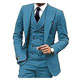 GFRBJK Designs Pantalon Pantalon Slim Fit 3 Pièce Un Bouton Bleu Gris Costumes De Mariée Tuxedos Marié Tenue De Soirée Costume d'affaires Lager 4 L
