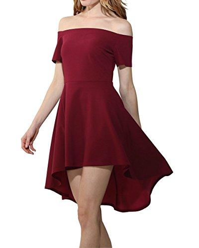 Damen Schulterfrei kleider Elegant Asymmetrisch Partykleid Abendkleid Cocktailkleid Ballkleid Rot