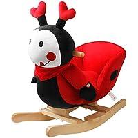 YAOBLUESEA Mecedora de Mariquita Animal Mecedora Silla Mecedora de Juguete Especial para niños con Sonido,Mariquita roja