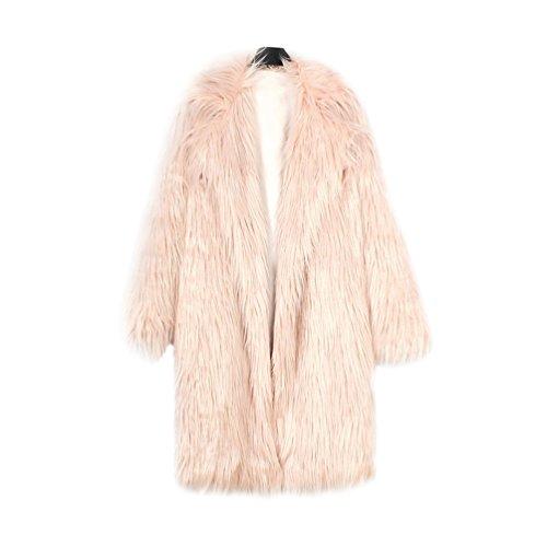Yuandian donna allungare lunga pelliccia sintetica cappotto autunno inverno casuale morbido caldo elegante ecologica pellicce finta giubbotto giacche rosa s