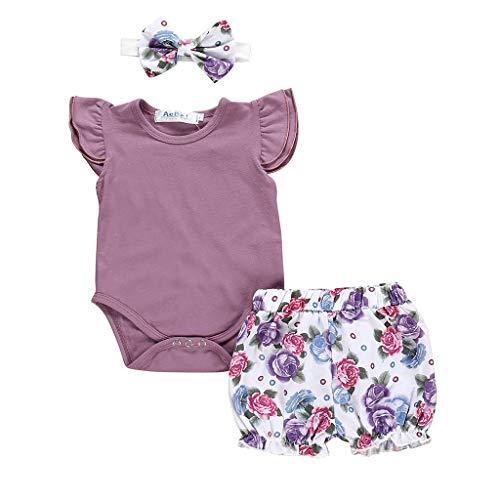 Julhold Newborn Kids Baby Mädchen Freizeit gut aussehende Outfits Kleidung Strampler Body + Flower Print Shorts Set