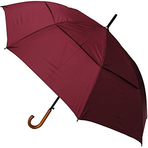 COLLAR AND CUFFS LONDON - Windproof 134 cm Bogen - Holzgriff - SEHR STARK - Verstärkt mit Fiberglas - StormDefender City - Ventilationsbezug - Automatik Stockschirm - Regenschirm - Burgunderrot Rot
