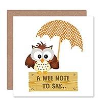 OWL UMBRELLA SPRING BIRD PERCH CUTE SIGN WEE NOTE BLANK BIRTHDAY CARD