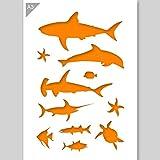 Fisch Sealife Silhouetten Schablone - Karton - A3 42 x 29,7cm - Breite erste Hai 22 cm - wiederverwendbare kinderfreundliche Schablone für Malerei, Handwerk, Fenster, Wände und Möbel