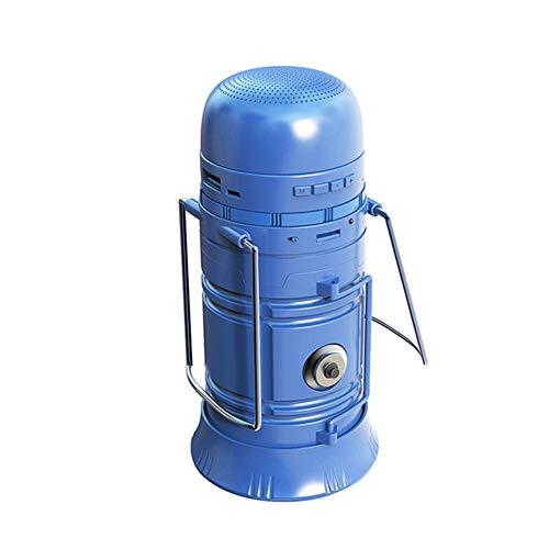 NFY Solar Powered Camping Lantern Bluetooth Speaker, Portable Boombox Wireless Lautsprecher Subwoofer mit Power-Bank-Taschenlampe LED TF FM Input Für zu Hause im Freien,Blue