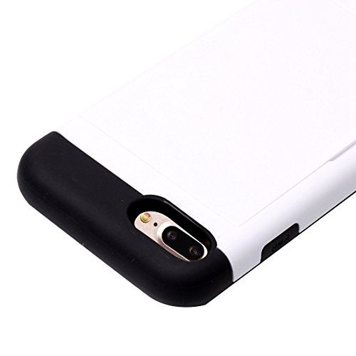 Hülle für iPhone 7 plus , Schutzhülle Für iPhone 7 Plus Slide Style TPU + PC Kombi-Gehäuse mit Kartensteckplatz ,hülle für iPhone 7 plus , case for iphone 7 plus ( Color : Rose Gold ) White
