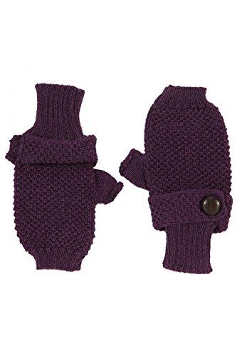 ANTA Q'ULQI - Mezzi guanti a maglia con un bottone decorativo, 100% in lana di baby alpaca - viola, Taglia unica