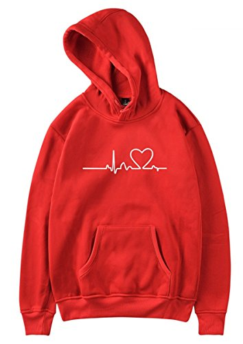 SIMYJOY Pärchen Herzschlag Kapuzenpullover Herz Hoodie ECG Cool Simple Strassenmode Sweatshirt für Liebespaar Herren Damen Jugendlich rot S