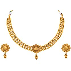 Jfl - Jewellery For Less Traditional Ethnic One Gram Gold Plated Sprial Flower Floral Bead Designer Necklace / Jewellery Set With Earring For Women & Girls