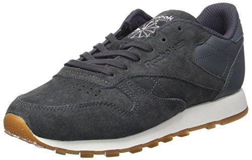 Reebok Damen Classic Leather EB Sneaker, Grau anthrazit/lila, 36 EU