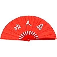 Abanico plegable de bambú, para práctica de artes marciales, estilo chino, Kungfu worlds red background
